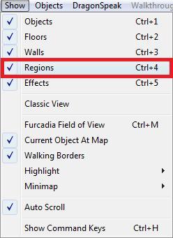 regions hide menu